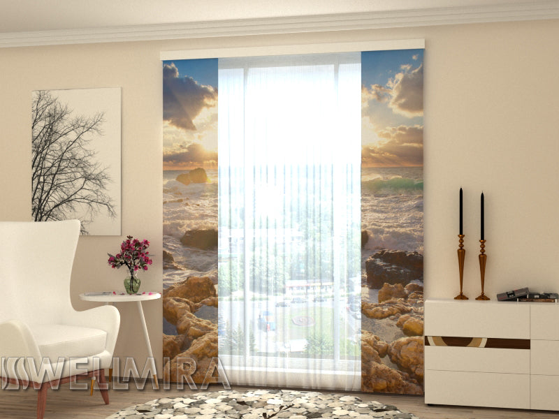 Set of 2 Panel Curtains Sea and Stones - Wellmira