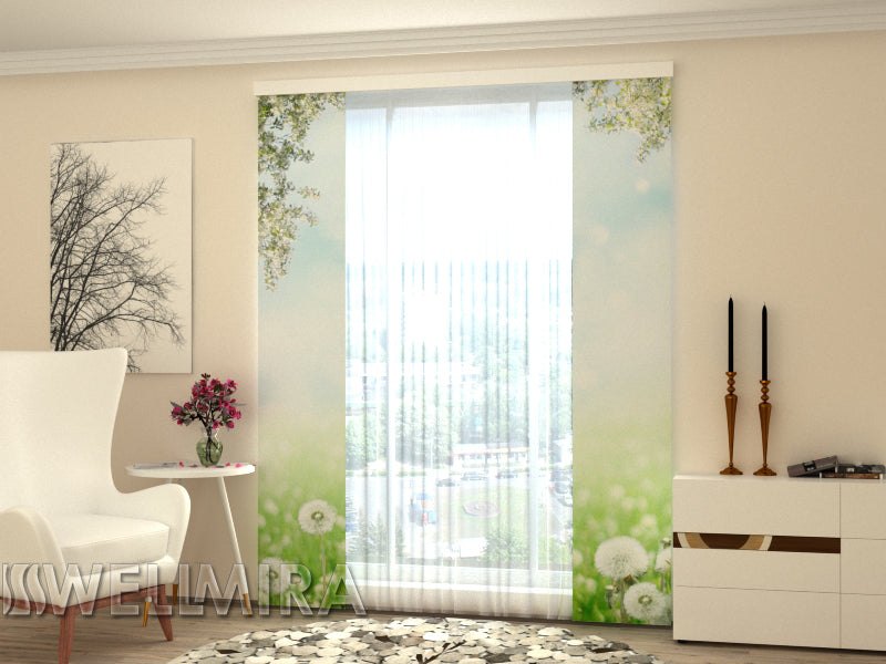 Set of 2 Panel Curtains White Dandelions - Wellmira
