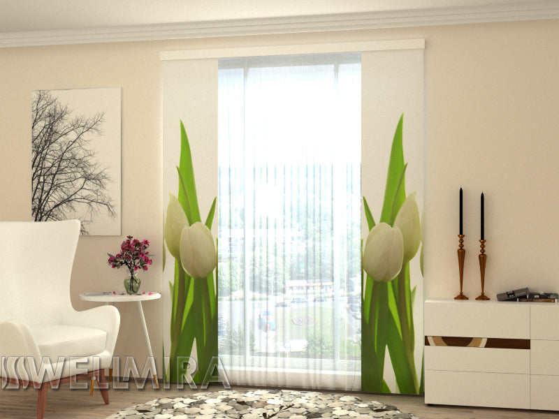 Set of 2 Panel Curtains White Tulips - Wellmira