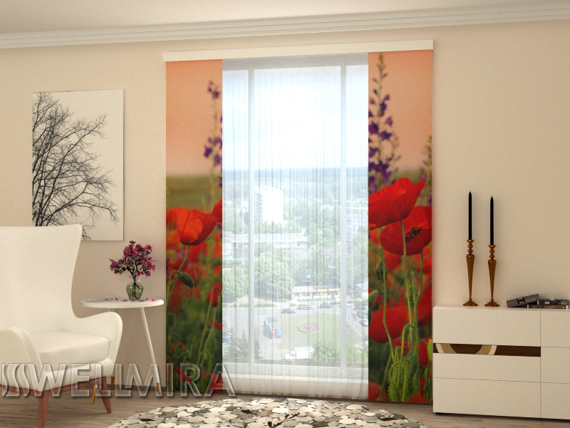 Set of 2 Panel Curtains Wonderful Poppies - Wellmira