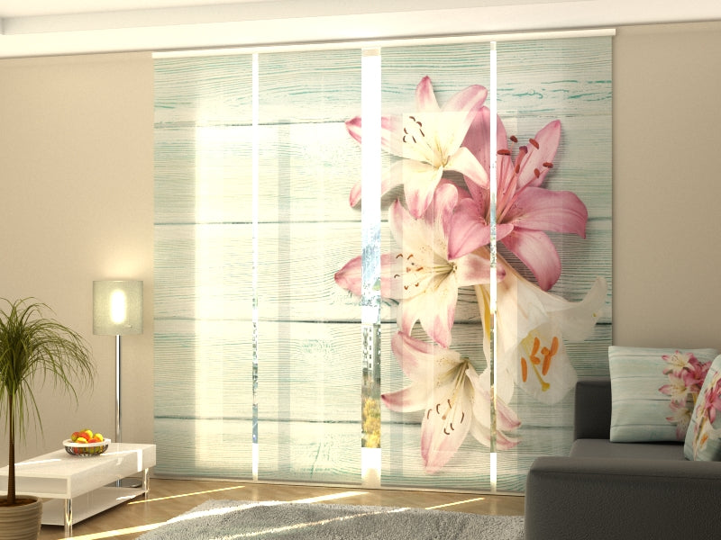 Set of 4 Panel Curtains Colorful Lilies on Wood