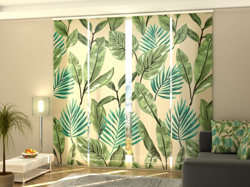 Set of 4 Panel Curtains Green Leaves 2