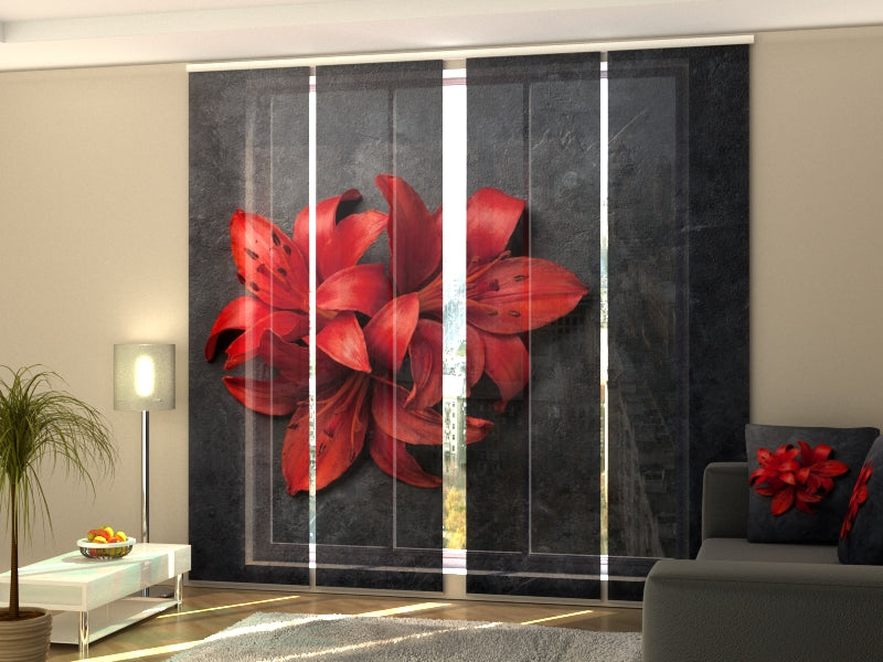 Set of 4 Panel Curtains Red Lilies on a Stone