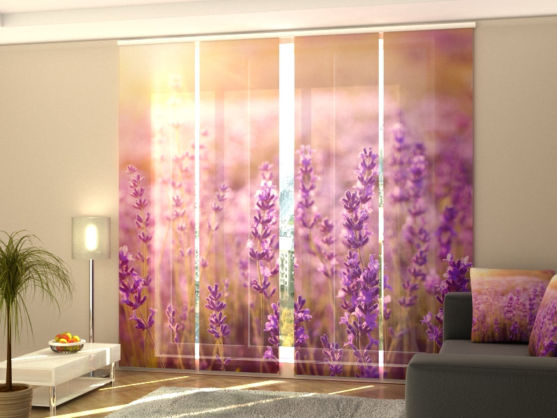 Set of 4 Panel Curtains Sunset over a Lavender Field