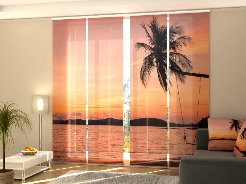 Set of 4 Panel Curtains Swings on the Ocean