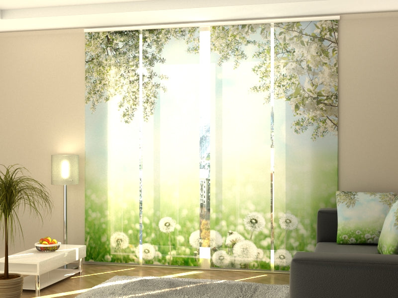 Set of 4 Panel Curtains White Dandelions