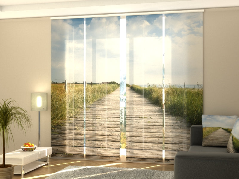 Set of 4 Panel Curtains Wooden Walkway on Sylt Island