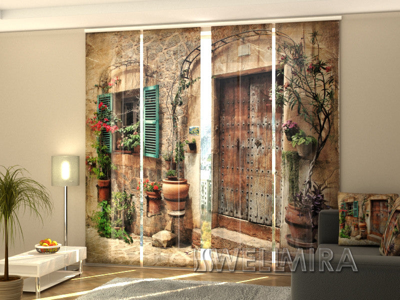 Set of 4 Panel Curtains Antique Door - Wellmira