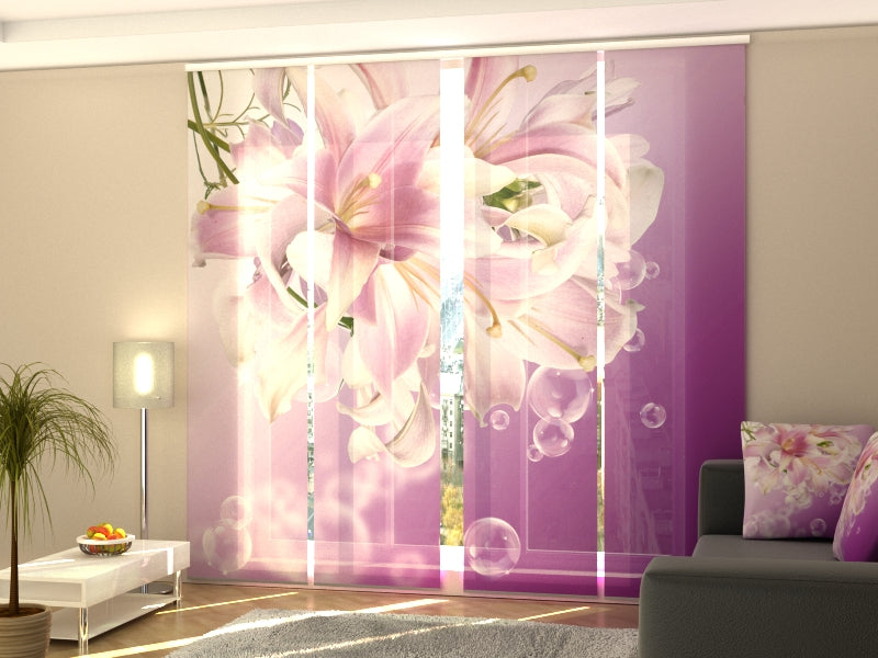 Set of 4 Panel Curtains Aphrodite's Lilies - Wellmira
