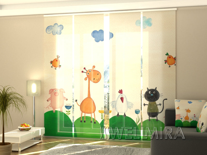Set of 4 Panel Curtains Baby Animals - Wellmira