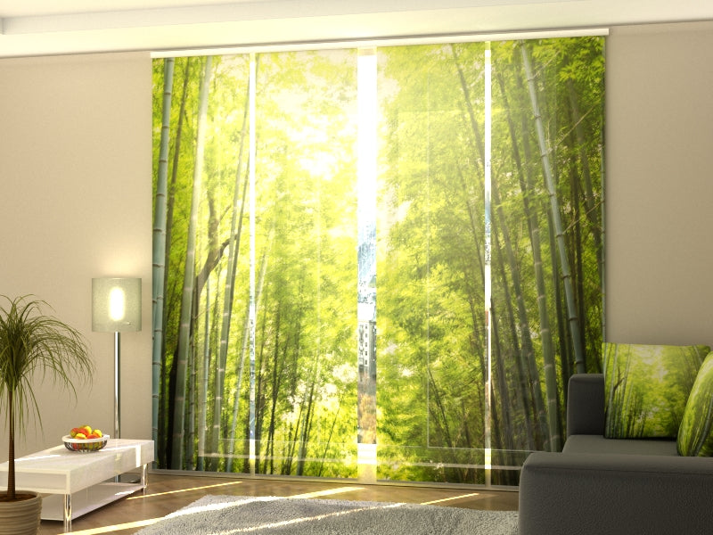 Set of 4 Panel Curtains Bamboo Forest at Sunset - Wellmira