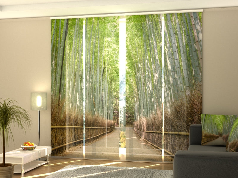 Set of 4 Panel Curtains Bamboo Forest in Kyoto - Wellmira