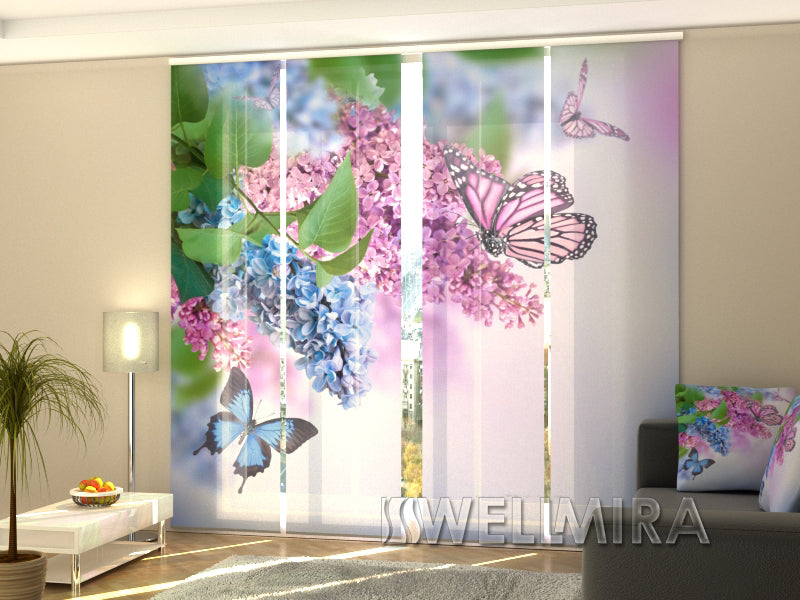 Set of 4 Panel Curtains Butterfly and lilac - Wellmira
