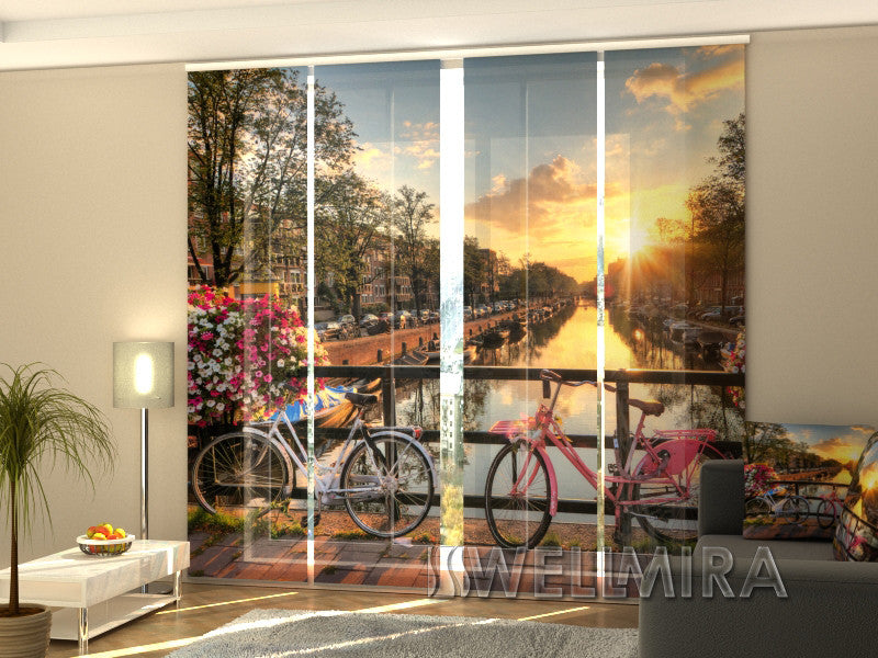 Set of 4 Panel Curtains Beautiful Sunrise over Amsterdam - Wellmira