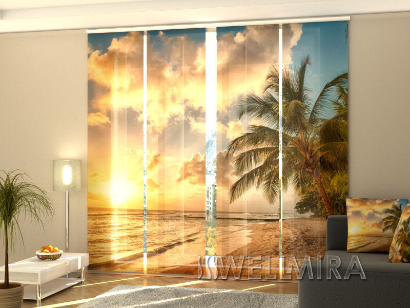Set of 4 Panel Curtains Beautiful Sunset in Barbados - Wellmira
