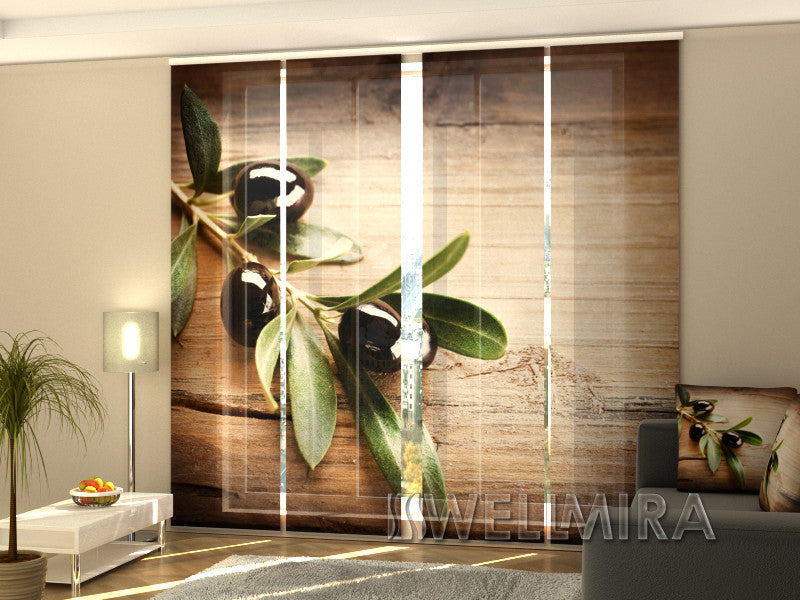 Set of 4 Panel Curtains Black Olive - Wellmira