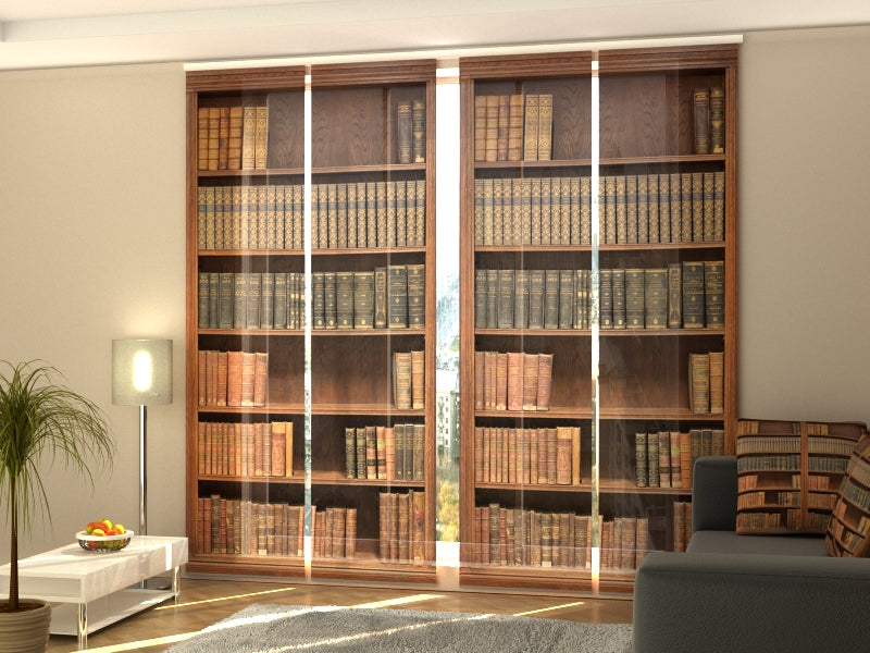 Set of 4 Panel Curtains Bookcase