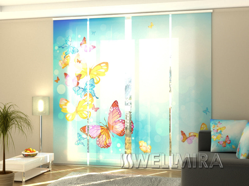 Set of 4 Panel Curtains Butterfly in the sky - Wellmira