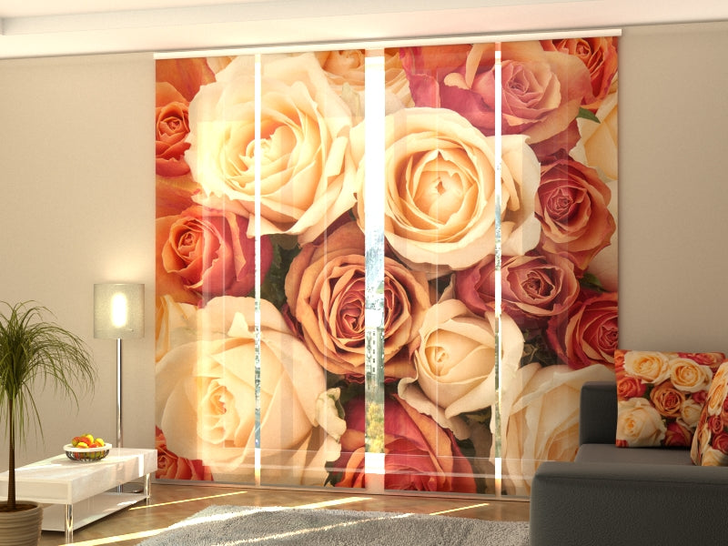 Set of 4 Panel Curtains Candy Roses - Wellmira