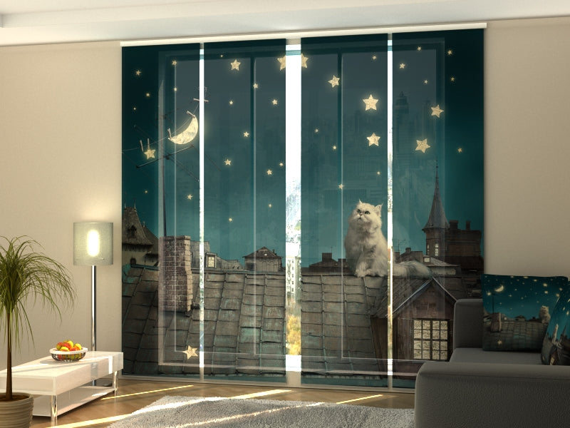 Set of 4 Panel Curtains Cat on the Roof - Wellmira