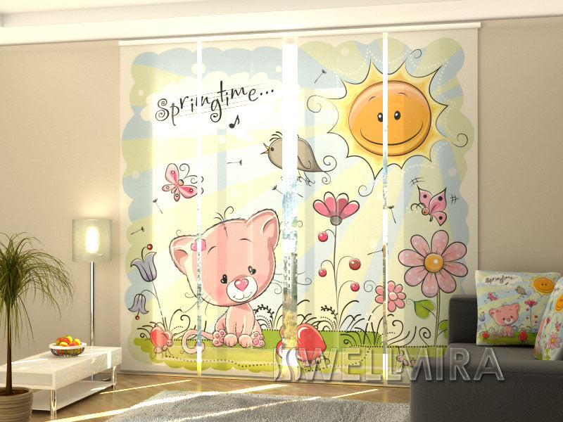 Set of 4 Panel Curtains Children's drawing - Wellmira