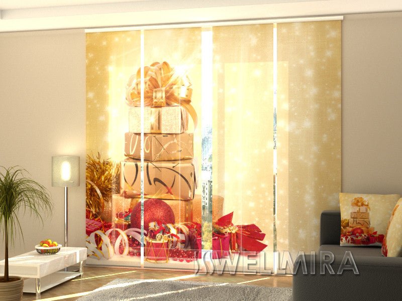 Set of 4 Panel Curtains Christmas Presents 2 - Wellmira