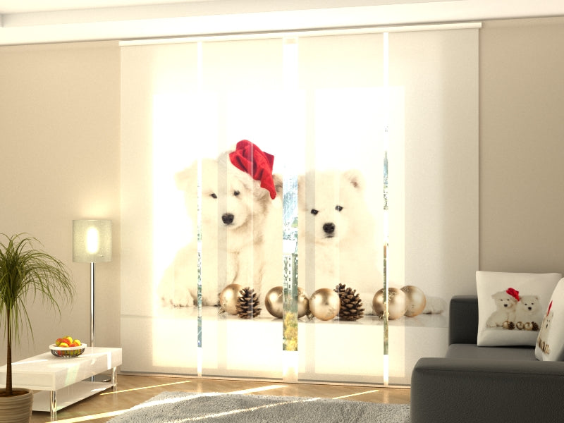 Set of 4 Panel Curtains Christmas Puppies
