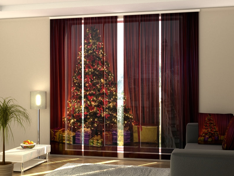Set of 4 Panel Curtains Christmas Tree 1