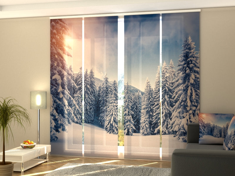 Set of 4 Panel Curtains Christmas Sunset