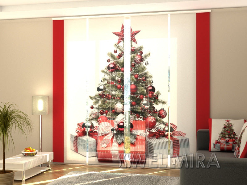 Set of 4 Panel Curtains Christmas Tree in Red Style - Wellmira
