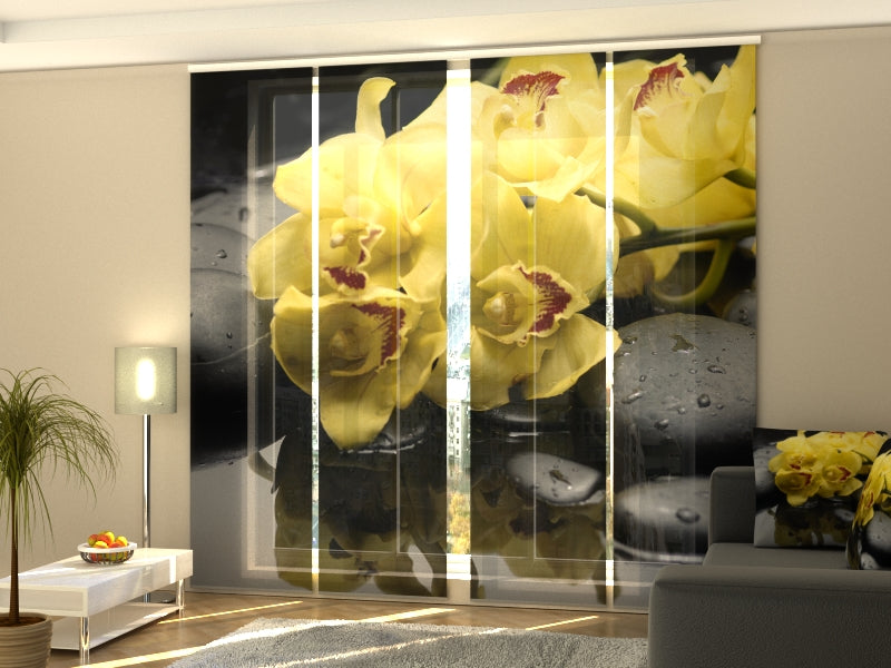 Set of 4 Panel Curtains Citreous Orchids 2 - Wellmira