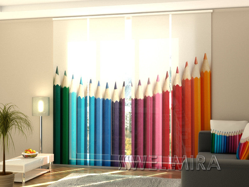 Set of 4 Panel Curtains Colour Pencils - Wellmira
