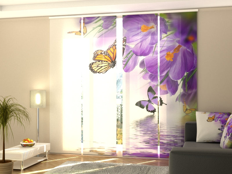 Set of 4 Panel Curtains Crocuses and Butterflies - Wellmira