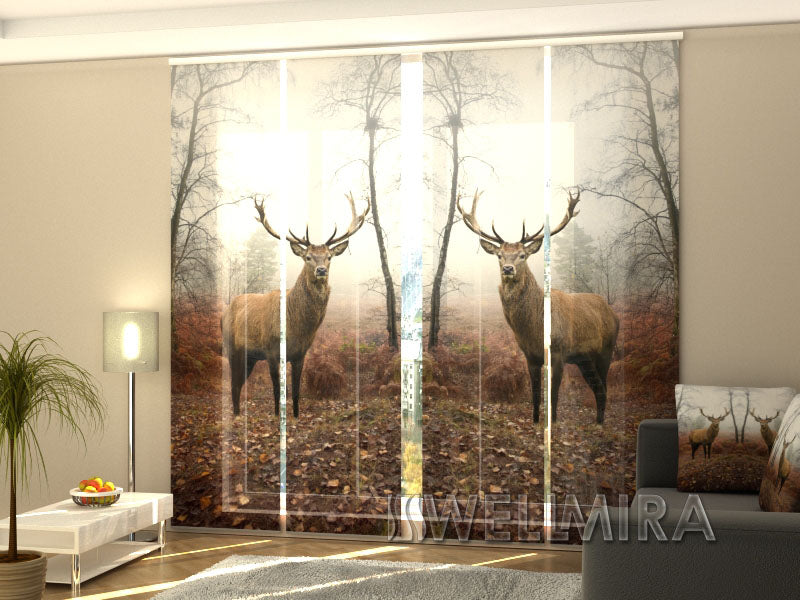 Set of 4 Panel Curtains Deer in Forest - Wellmira