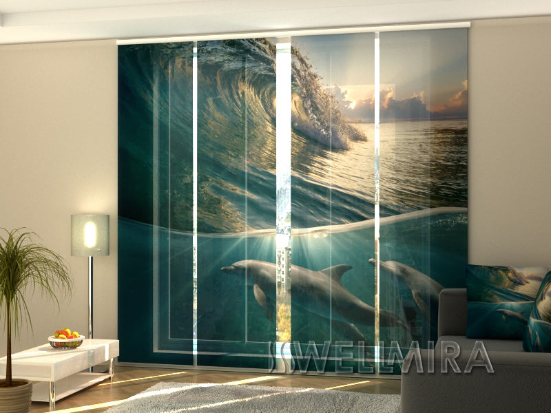 Set of 4 Panel Curtains Dolphins and Wave - Wellmira