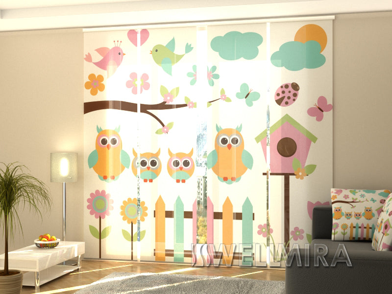 Set of 4 Panel Curtains Family Owls - Wellmira