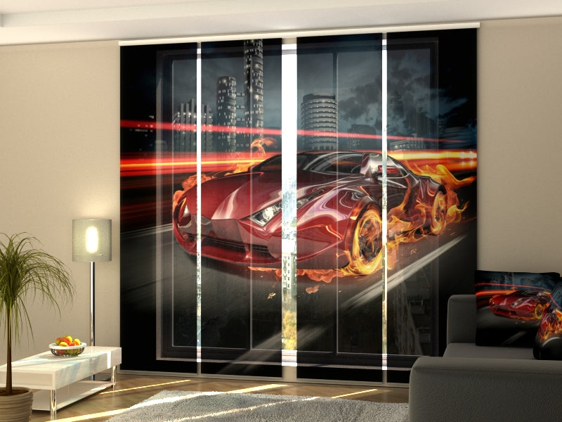 Set of 4 Panel Curtains Fiery Supercar - Wellmira