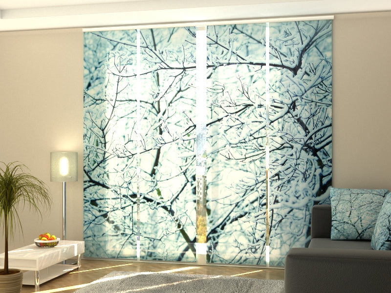 Set of 4 Panel Curtains Frosty Branches