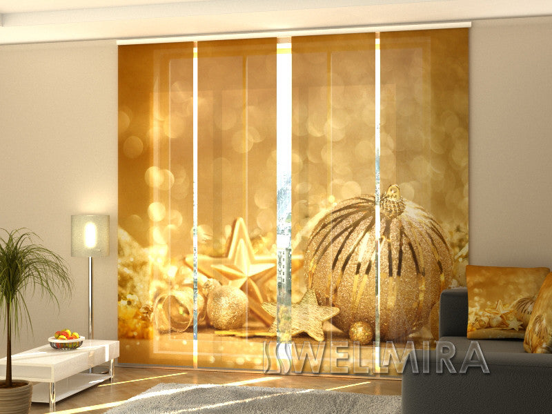 Set of 4 Panel Curtains Golden Christmas Toys - Wellmira