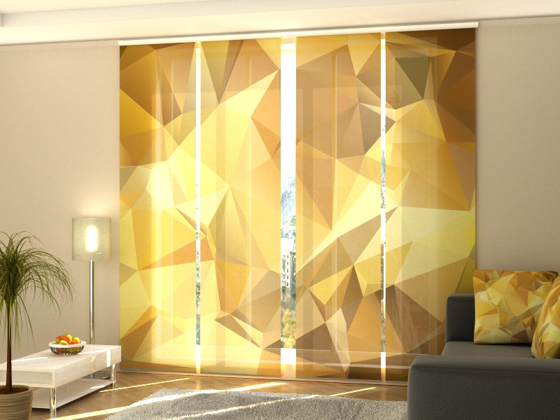 Set of 4 Panel Curtains Golden Abstraction - Wellmira