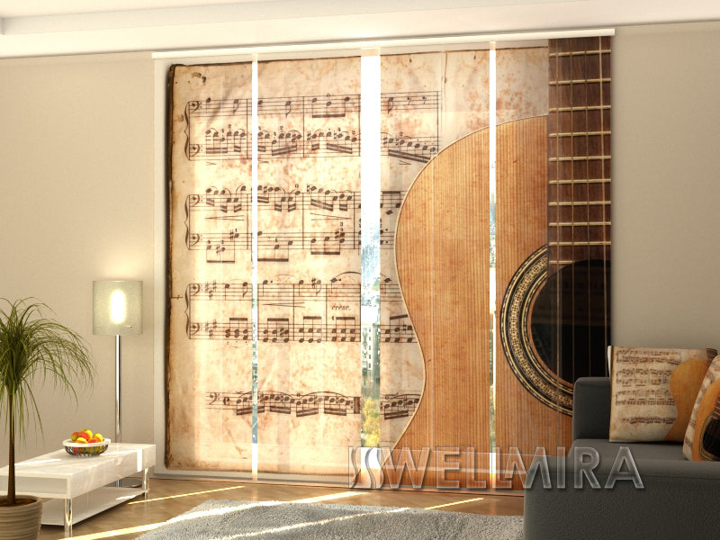 4er set fl chenvorhang guitar and notes interior. Black Bedroom Furniture Sets. Home Design Ideas