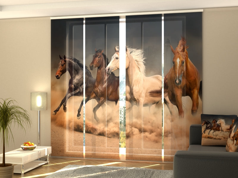 Set of 4 Panel Curtains Herd of Horses 1 - Wellmira