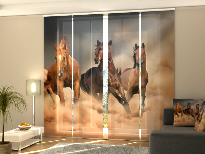 Set of 4 Panel Curtains Herd of Horses 2 - Wellmira