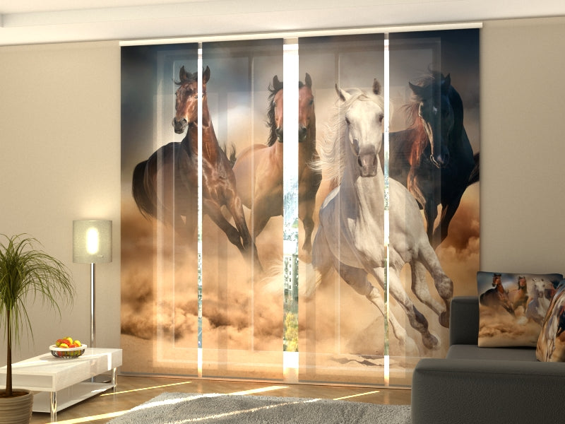 Set of 4 Panel Curtains Herd of Horses 3 - Wellmira