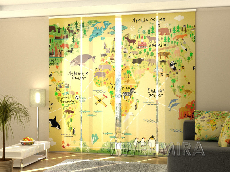Set of 4 Panel Curtains Kids Map - Wellmira