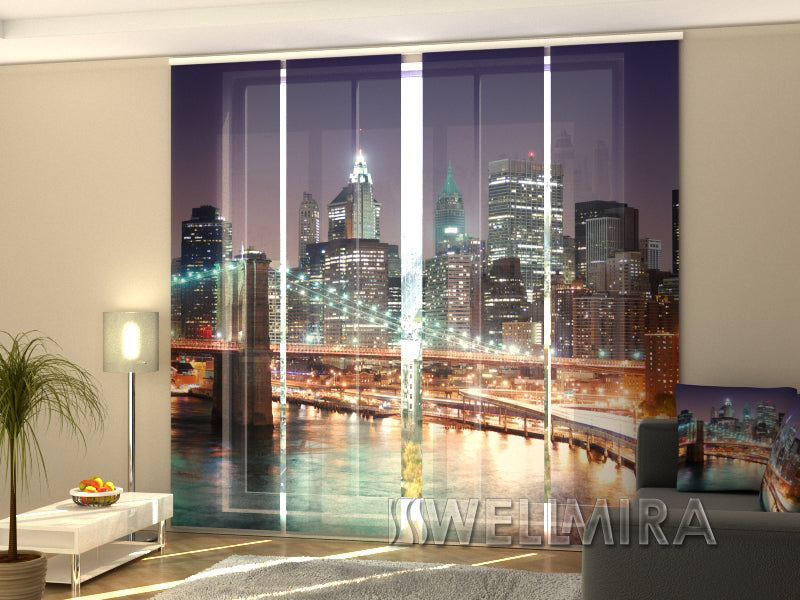 Set of 4 Panel Curtains Manhattan after sunset - Wellmira