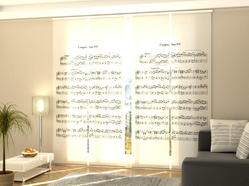 Set of 4 Panel Curtains Music Note Sheet - Wellmira