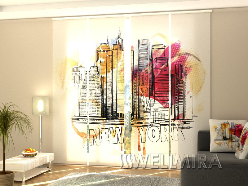 Set of 4 Panel Curtains New York Art - Wellmira