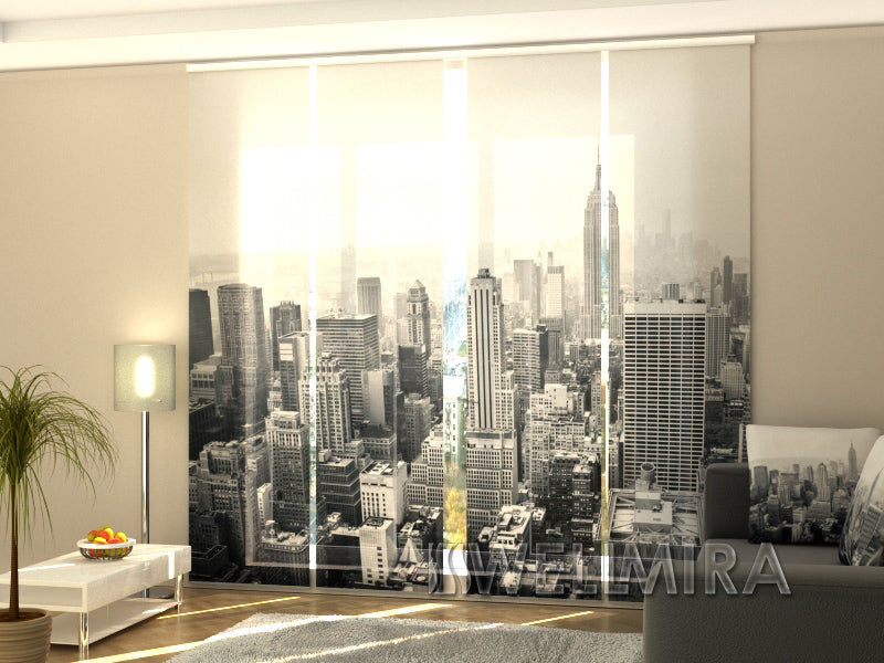 Set of 4 Panel Curtains New York in Black and White - Wellmira