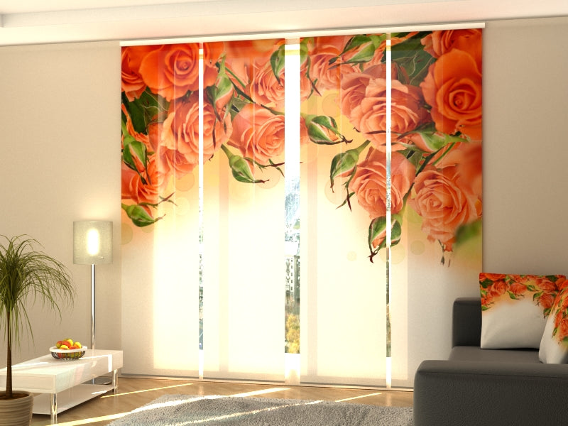 Set of 4 Panel Curtains Oranges Roses - Wellmira